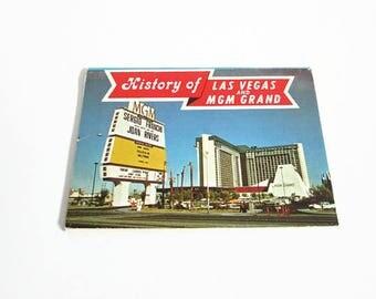 Miniature Booklet, History of Las Vegas and MGM Grand Hotel, Ten Views, Ferris H Scott, NV Souvenir Folder, HS Crocker, Nevada Memorabilia