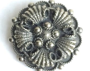 Silver Italian Etruscan Brooch Pin, 1940s-50s, Ornate Details and Design