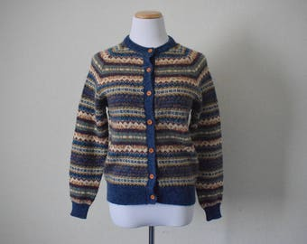 FREE usa SHIPPING Vintage ladies/  knit striped cardigan/ vintage sweater/ button up/ preppy/ hipster/ nerd/ geek/ acrylic/ nylon/ size M