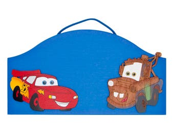 Cars Personalized Cars wooden kids room sign Lightning McQueen and Mator Cars kids room decor Cars signs for kids