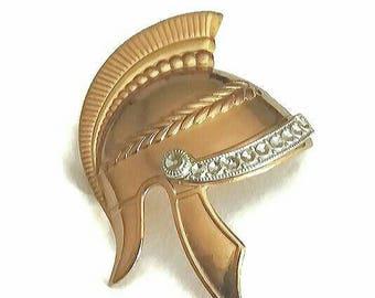 Roman Soldier Brooch Knights Templar Pin Gladiator Helmet Broach Vintage Warrior Steampunk Knighthood Jewelry Spartan Gift Rhinestone Gold
