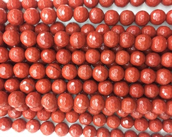 faceted red jasper beads - jasper stone beads - natural gemstone beads - wholesale beads  - red beads - round beads  - 4-20mm - 15 inch