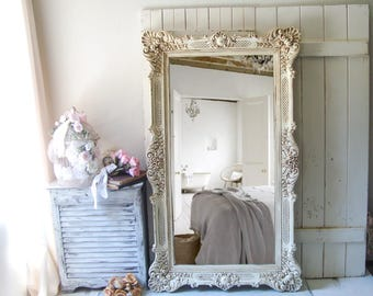 Antique Cream Ornate Vintage Floor Mirror, Tall Cream and Gold Leaning Mirror, Very Large Mirror, Shabby Chic Decor, Cream Wedding Mirror
