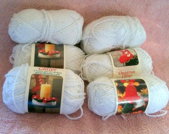 Vintage Caron Yarn Christmas Glitter Whit and Silver 4 ply Worsted Weight Acrylic  H15