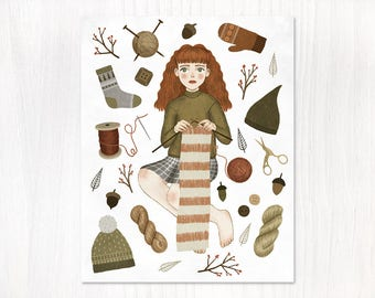 forest knitting postcard