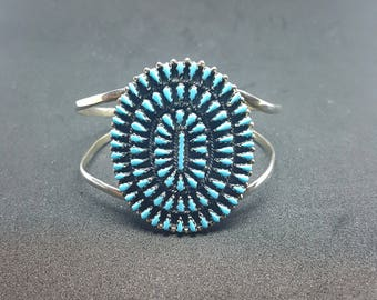 Medium Turquoise Cluster Cuff Bracelet-Petit Point sterling silver