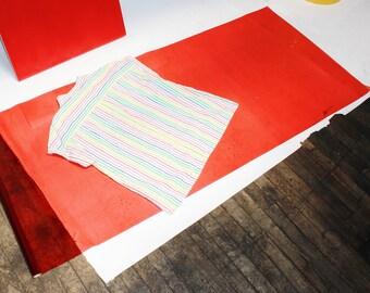 rainbow stripe short sleeve loose fit shirt MEDIUM LARGE