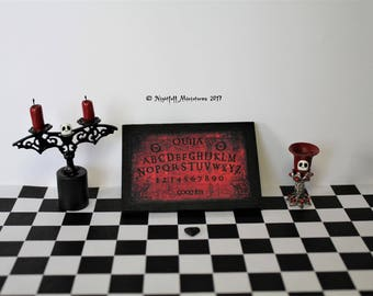 Playscale Miniature Gothic Halloween ouija board, goblet, candlestick in 1:6 scale for barbie,blythe, monster high,phicen bjd