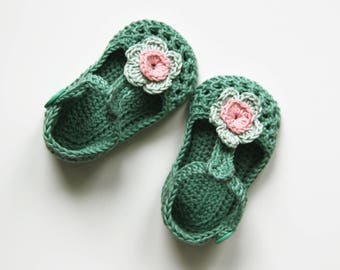 IDA Baby Girl Shoes, Crochet Cotton Baby Booties, Green Mint Pink Baby Shoes, T-strap Baby Shoes, Size 6-9 months, Ready to Ship