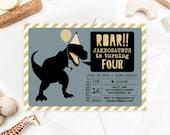 Dinosaur Birthday Invite - Dino Birthday - Roar! - Dinosaur Birthday Invitation - Printable Invitation