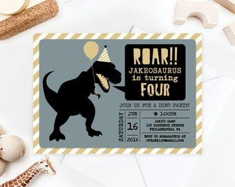 Dinosaur Birthday Invite - Dino Birthday - Roar! - Dinosaur Birthday Invitation - Printable Invitation