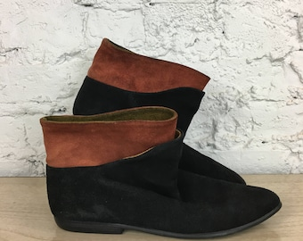 Two Tone Vintage Suede Booties