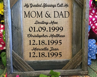 Framed Christmas Gift for Mom and Dad | Personalized Gift For mom and dad | My Greatest Blessings | mum  | Burlap Print | 260