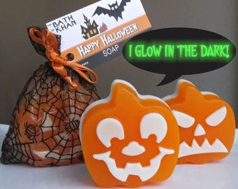 Halloween Soap - Glow in the Dark, Jack O Lantern, Pumpkin Soap, Halloween Decor, Halloween Soap Gift, Halloween Party, Non Candy Treat