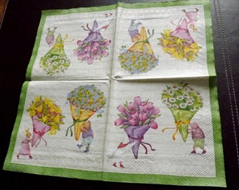 Paper flower bouquet towel