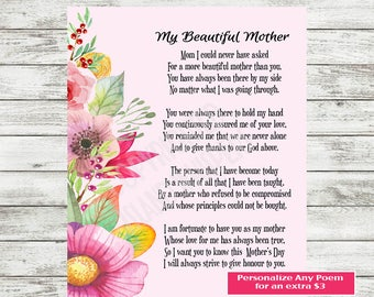 Mother Poem Gift, Mother Poem, Mom Printable, Mother's Day Print, Gift for Mom, Mothers Day Card, Mom Gift, Instant Download