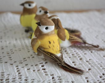 4 artificial birds fall decoration, garden, rustic decoration, shabby chic, cottage decoration, On CLIPS,Christmas Decorations