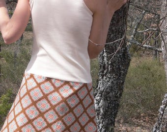 Passionflower vintage cotton canvas and cotton jersey dress