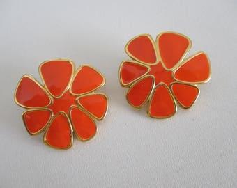 Bright Orange Enamel Flower Clip On Earrings by Monet ~ Free Shipping