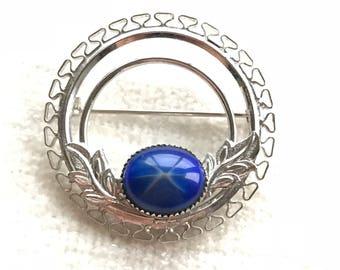 Blue Cats Eyes brooch
