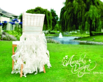 White Bridal Chair Cover | Wedding Ruffle Chair Decoration Willow Slipcover for Event Reception Bridal Shower Wedding Engagement Decor