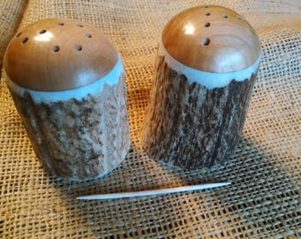 "Antler Salt and Pepper Set, Elk Antler and Idaho Idaho Wild Cherry hardwood, mid-size natural color shakers, rounded tops with ""S"" and ""P"""