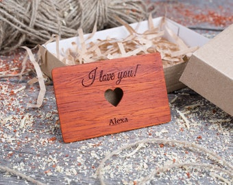 Personalized Wallet Insert with heart, Jarrah wood, Custom wallet insert love note, customized wallet card, gift for dad, gift for him.