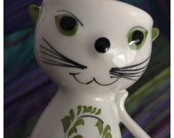 Vintage SECLA Portugal Ceramic Cat Egg Cup Holder, Hand Painted