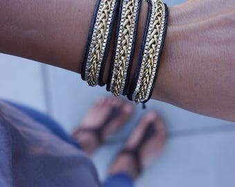 Gold and Silver Chain 3 times wrap bracelet on black cord