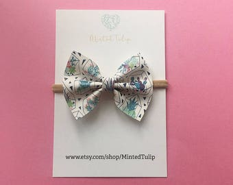 SUMMER SALE Succulent Print Faux Leather Bow on Headband or Hair Clip Baby Toddler Kids