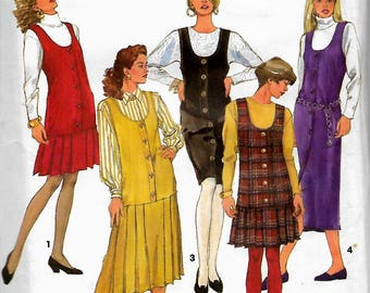 Simplicity 7939     Misses/Petites Jumper With or Without Pleated Skirt       Size 10-14       Uncut