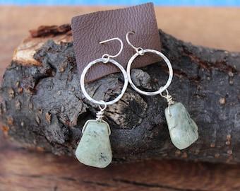 Sterling Silver & Green Agate Dangle Earrings