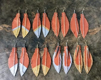 Orange Leather Feather Boho Earrings, Leather Earrings, Feather Earrings, Statement Gift for Women, Feather Jewelry, Free Shipping, Earrings