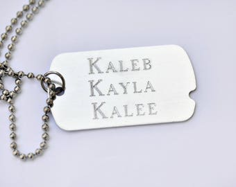 Engraved Dog Tag Necklace, Personalized Dog Tag, Name Necklace, Custom Dog Tag, Engraved Jewelry, silver Dog Tag, silver Necklace