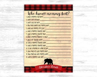 Buffalo plaid baby shower game Who knows mommy best Baby bear Baby shower Game Lumberjack boy baby shower game (BFB101)