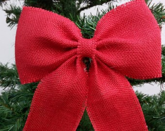 Red Burlap Christmas Bow Burlap Wedding Bow Bow of Christmas Tree Bow with Christmas Tree Christmas Party Holiday Bow First Christmas Bow