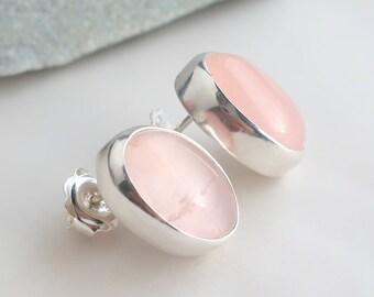 Rose quartz 14 x 10mm oval cabochon sterling silver handmade designer stud earrings