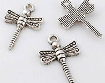 Pendant silver, dragonfly, 22 x 14 mm beads, sold by 5
