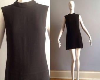Vintage Max Mara Black Wool Sleeveless Dress ~ Retro Mod Inspired Shift ~ Designer Minimalist Mini