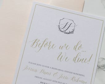 5x7 Pink Blush and Champagne Gold Modern Wedding Rehearsal Dinner Invitation Suite with envelopes — Different Colors Available!