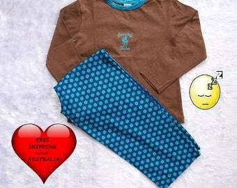 Girls Pajamas, girls PJ's, Girls sleep wear, Girls pyjamas Size 6, Toddler girls pyjamas size 6, Blue Polka Dots, FREE Shipping