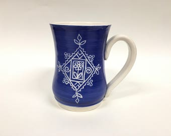 Blue Henna Design Porcelain Mug 2