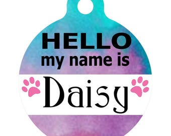 Personalized Round Pet ID Tag-In Purple & Blue Watercolor | Custom Pet ID Tag | Dog Collar Name Tag | Double Sided | HELLO my name is