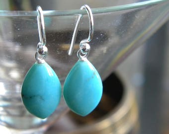 Arizona Turquoise Marquise Drop Earrings, Turquoise Drop Earrings, Sterling, Genuine Turquoise, Gift Box, KarenWolfeCreations, Sterling