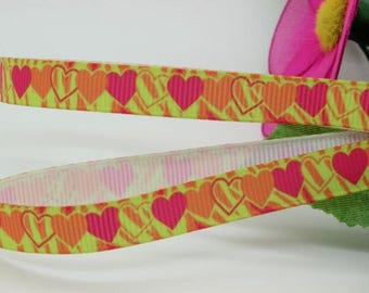 Orange 9mm heart Zebra yellow rose meter fuchsia grosgrain Ribbon