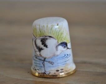 Vintage thimble - China - Dunheved - Advocet - Bird - D. Wilson - Signed