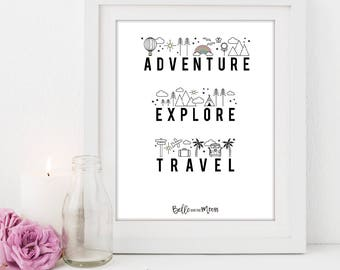 A4 Wall Art Print | Adventure, Explore, Travel Print