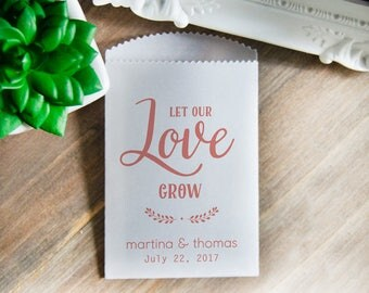 Wedding Seed Packets, 25 Let Love Grow Packets, Wedding Seed Favor Bags, Seed Packets