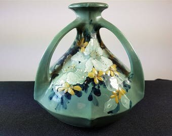 Antique French Art Pottery Vase with Hand Painted Flowers and 3 Handles