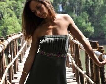 Green maxi dress - sleeveless dress - floor length dress - summer dress - gypsy - embroidered dress